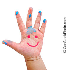 Hand Painted Child. Isolated on white background (smiling hand)