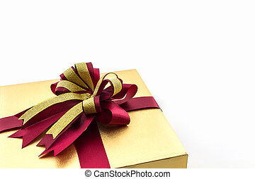 Gold and brown gift box with ribbon bow - Gold and brown...