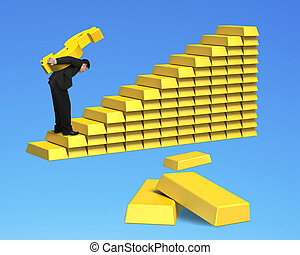 businessman carrying gold dollar up stack of bullion stairs...