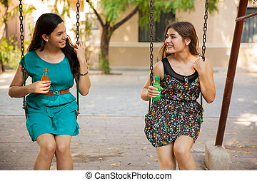 Happy teenagers hanging out