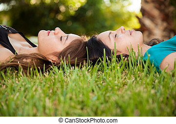 Cute friends napping together - Best teenage friends...