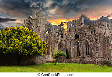 Ruins of an old monastery in Scotland