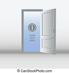 Open white door template - Illustration of an open white...