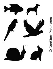 Animal silhouettes - Set of animal silhouettes, fish, flying...