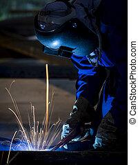 ouvrier, protecteur, masque, soudure, métal
