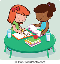 Students doing homework - Two female young students doing...