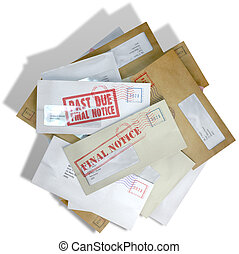 Debt Envelope Scattered Stack - A scattered stack of regular...