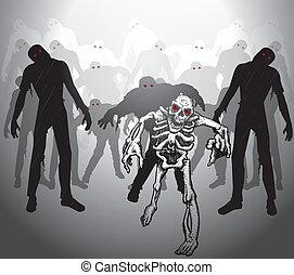 Zombie apocalypse Group of zombies and skeleton Skeleton...