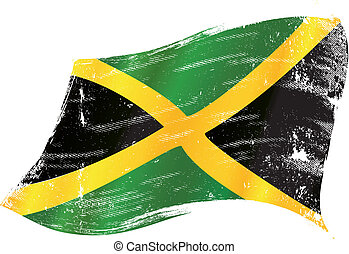 waving jamaican grunge flag - A waving flag of Jamaica with...