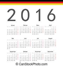Simple german 2016 year vector calendar Week starts from...