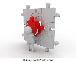 3d man puzzle assembling