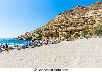 Pebbly, beach, Matala, Greece, Crete, Matala, has, become,...