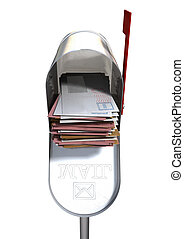Retro Mail Box And White Envelope Stack - An open old school...