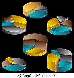Tiered Metal Pie Chart Set Color