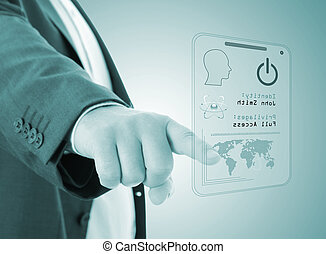 security data concept - Man pressing the access card,...