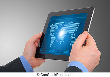 Digital world concept on tablet , on businessman hands -...