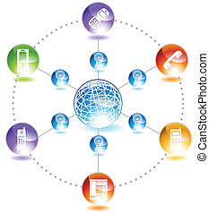 Phone Network - Phone network diagram in a shiny glossy web...