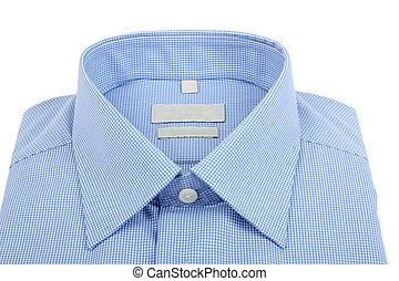 blue man's shirt  - new blue checkered shirt.