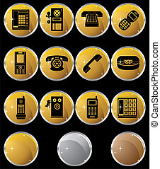 Phone Icons Round - Set of round gold phone buttons with...