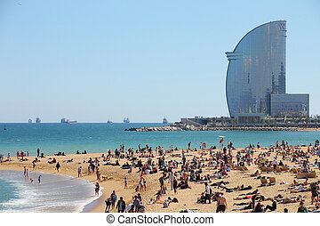 Barcelona, city beach, Spain - Barcelona, city beach, 400...