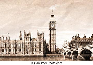 Vintage view of London, Big Ben & Parliament