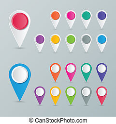 map pointer - two sets of blank colorful map pointers in...