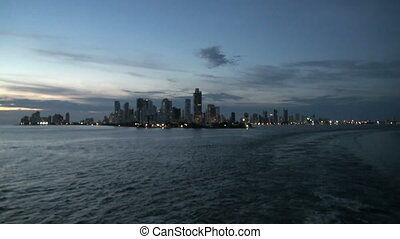 Columbia, Cartagena Skyscapers - Shoreline of Playa de Boca...