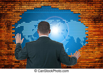 hole in old wall with digital world concept graphic.