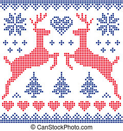 Winter, Christmas red, navy pattern - Christmas vector...