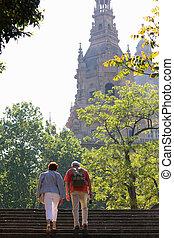 Senior couple sightseeing together