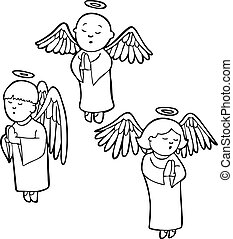 Praying Angels Line Art
