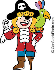 Child Pirate Parrot - Boy dressed as a pirate with his bird.