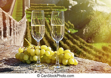 Pair of champagne glasses. Bellinzona, Switzerland