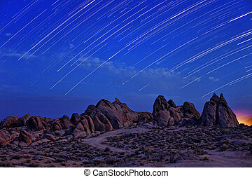 Time Lapsed Star Trails at the Alabama Hills in California -...