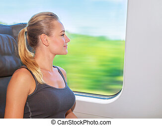 Traveling on train - Beautiful girl traveling on the train...
