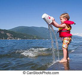 Boy on Shuswap lake