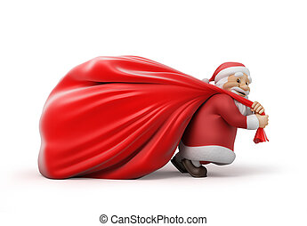 Santa Claus with a bag of gift - Santa Claus with a heavy...
