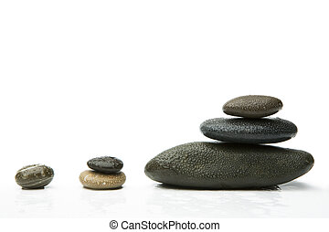 Stones - Group of black stones with the water drops, lying...
