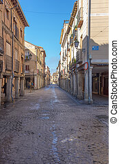 Cobbled streets of the old town of Alcala de Henares, Spain
