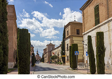 streets and old buildings of the town of Alcala de Henares,...