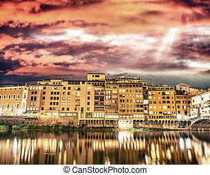 Bulidings of Florence along Arno River, Italy.