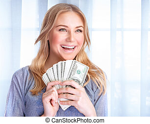 Happy woman with lot of money - Portrait of happy excited...