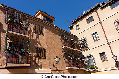 balconies decorated in the town of Alcala de Henares, Spain