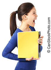Woman with blank notebook