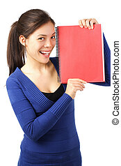 Student with blank notebook / sign