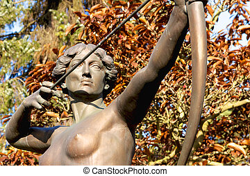 "Archer Statue - ""Bogenspannerin"" or ""Diana"", sculpture of a..."