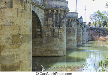 famous stone bridge, Puente Mayor, XVI Century, in Palencia,...