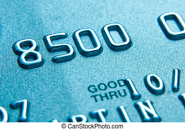 credit card - Close up of credit card showing partial...