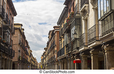 tourist pedestrian street with arcades in Alcala de Henares, Spa