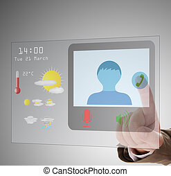 concept of video chat about tourism information - Man using...